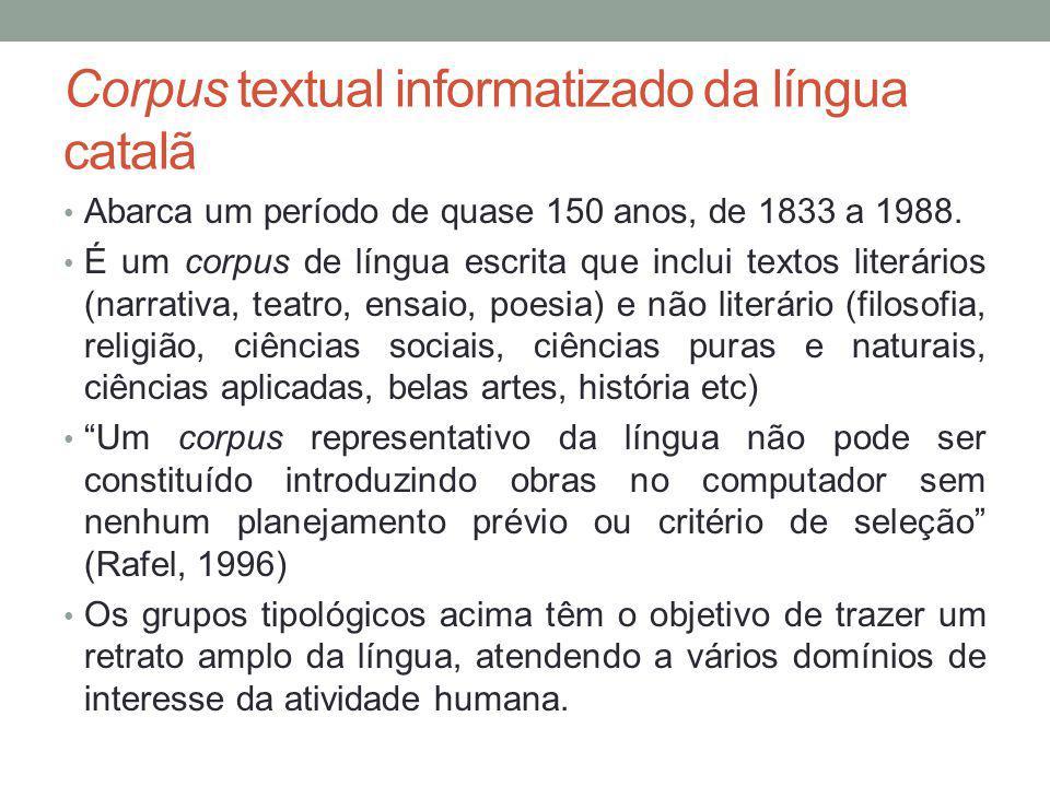 Corpus textual informatizado da língua catalã Abarca um período de quase 150 anos, de 1833 a 1988. É um corpus de língua escrita que inclui textos lit