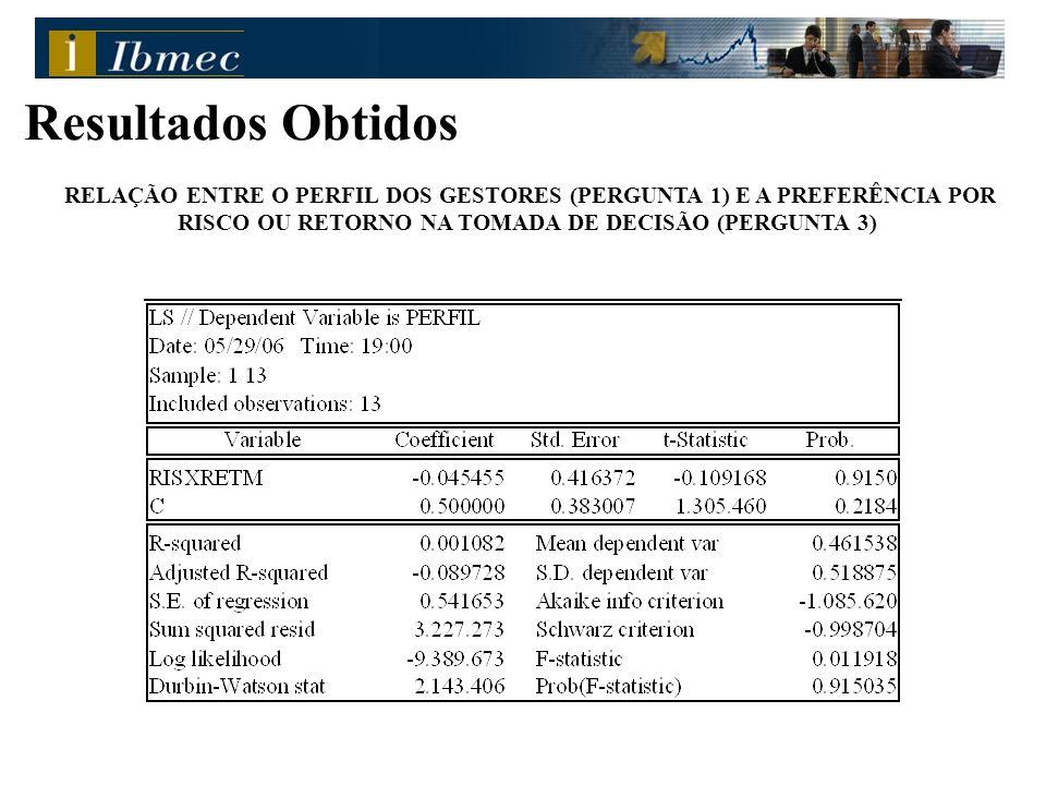 Resultados Obtidos RELAÇÃO ENTRE O PERFIL DOS GESTORES (PERGUNTA 1) E A PREFERÊNCIA POR RISCO OU RETORNO NA TOMADA DE DECISÃO (PERGUNTA 3)