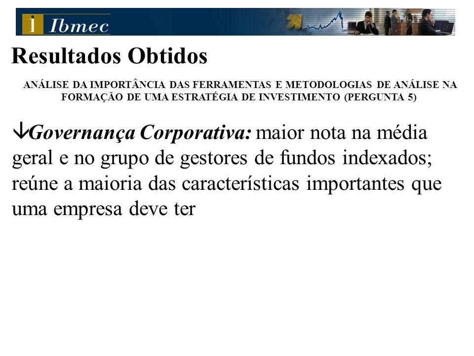Resultados Obtidos ANÁLISE DA IMPORTÂNCIA DAS FERRAMENTAS E METODOLOGIAS DE ANÁLISE NA FORMAÇÃO DE UMA ESTRATÉGIA DE INVESTIMENTO (PERGUNTA 5) â Gover