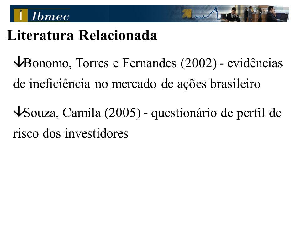 â Bonomo, Torres e Fernandes (2002) - evidências de ineficiência no mercado de ações brasileiro â Souza, Camila (2005) - questionário de perfil de ris