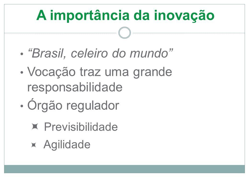 A importância da inovação Brasil, celeiro do mundo Vocação traz uma grande responsabilidade Órgão regulador  Previsibilidade  Agilidade