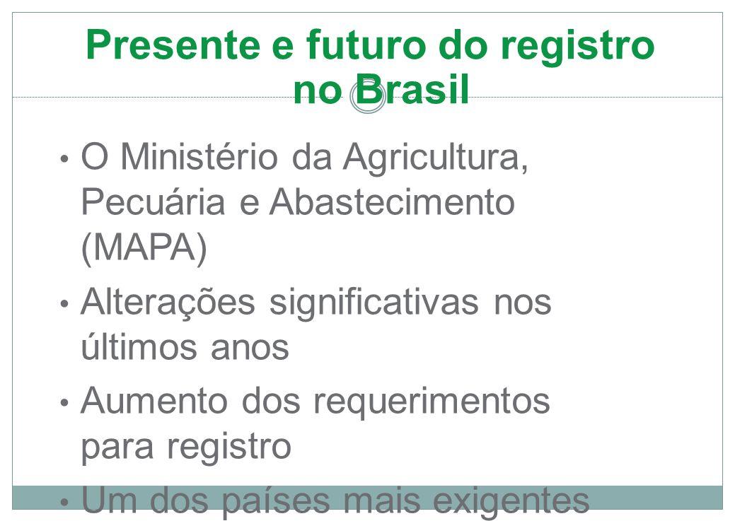 Presente e futuro do registro no Brasil O Ministério da Agricultura, Pecuária e Abastecimento (MAPA) Alterações significativas nos últimos anos Aumento dos requerimentos para registro Um dos países mais exigentes da América Latina