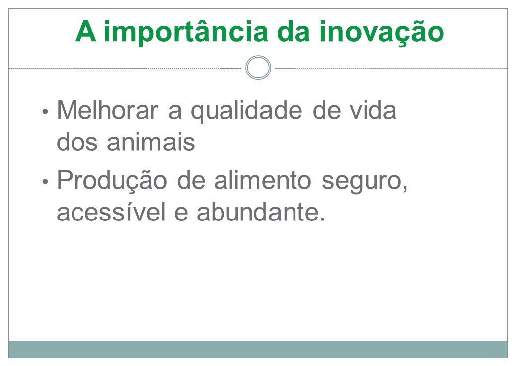 A importância da inovação Melhorar a qualidade de vida dos animais Produção de alimento seguro, acessível e abundante.