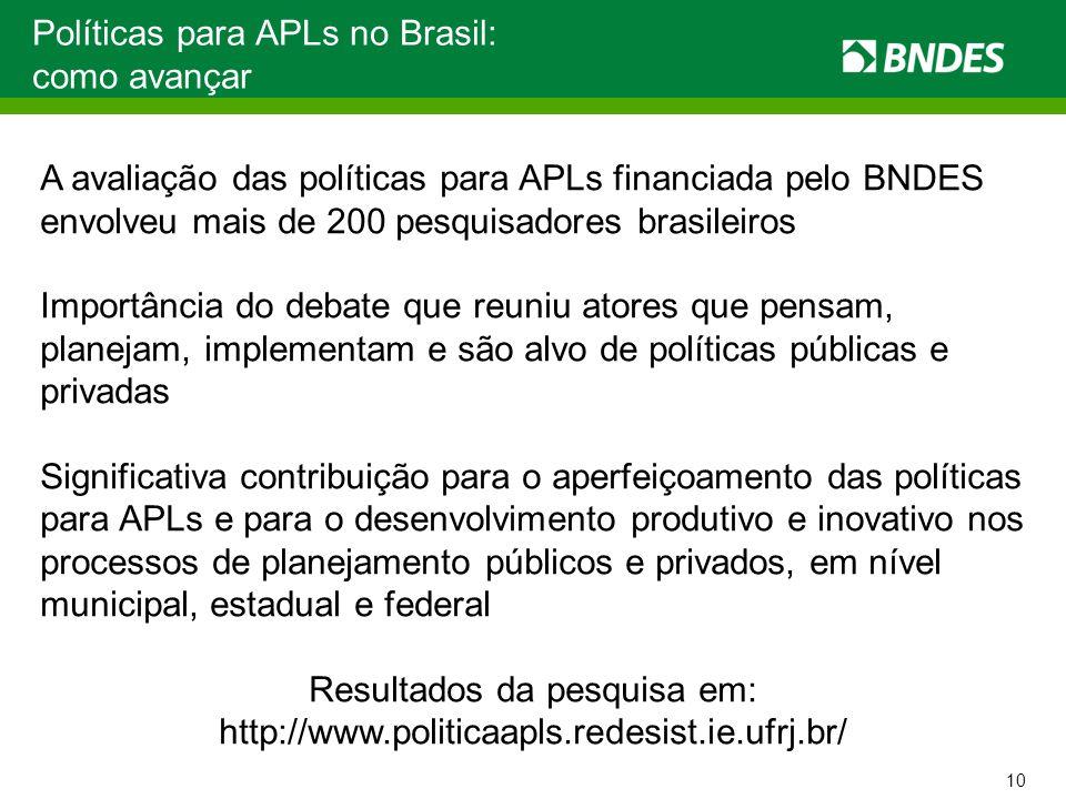 Políticas para APLs no Brasil: como avançar A avaliação das políticas para APLs financiada pelo BNDES envolveu mais de 200 pesquisadores brasileiros I