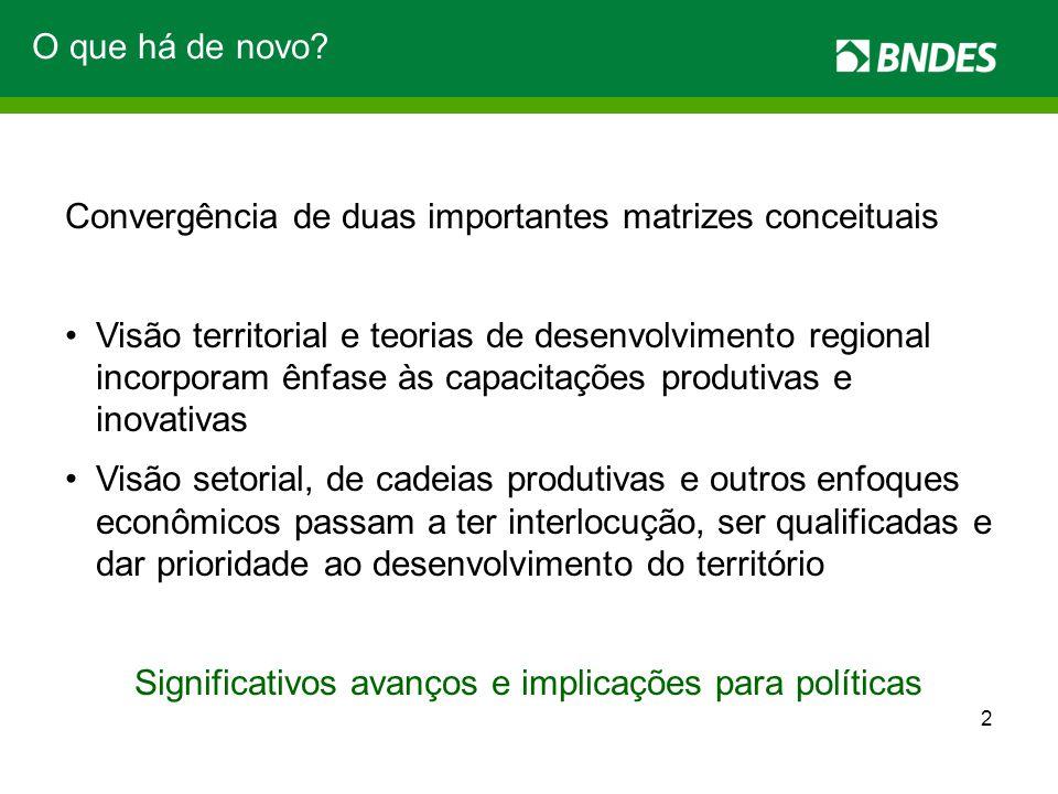O que há de novo? Convergência de duas importantes matrizes conceituais Visão territorial e teorias de desenvolvimento regional incorporam ênfase às c