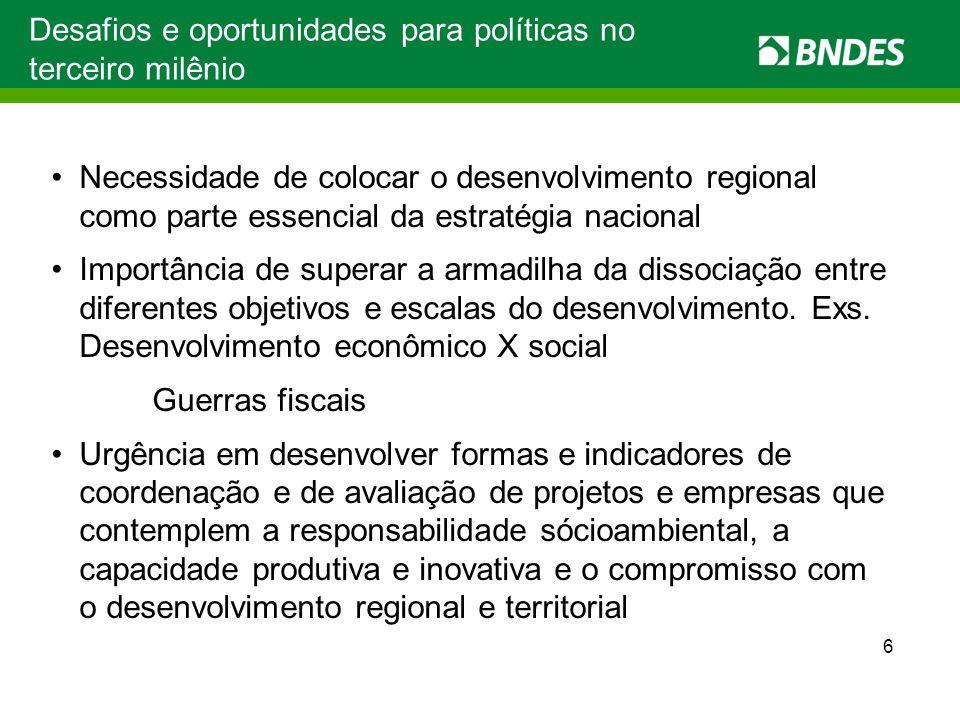 7 Secretaria de Arranjos Produtivos e Desenvolvimento Local e Comitê de Arranjos Produtivos, Desenvolvimento Regional, Inovação e Meio Ambiente (criados em 2007) Reestruturação da Área de Inclusão Social e da Área de Operações Indiretas Consolidação e ampliação dos Departamentos Regionais Denor, Desul, Dereg e nova unidade no Norte Criação de Departamento e Fundo da Amazônia BNDES: prioridade ao desenvolvimento regional e a APLs