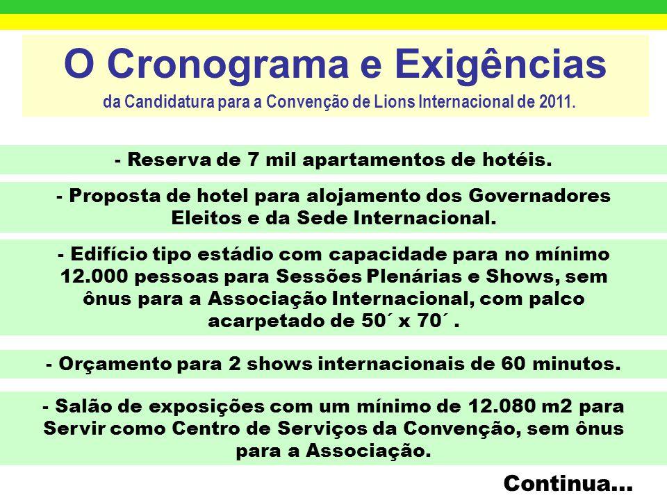 O Cronograma e Exigências da Candidatura para a Convenção de Lions Internacional de 2011. Próximo ano disponível - 2011 Regime de Licitação Internacio