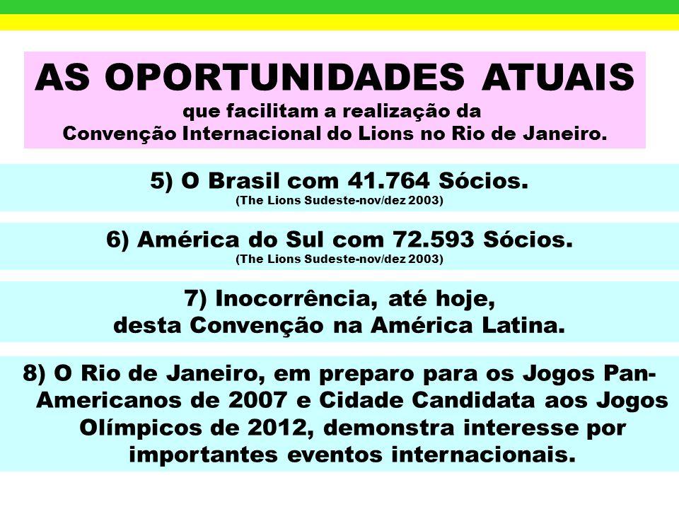 AS OPORTUNIDADES ATUAIS que facilitam a realização da Convenção Internacional do Lions no Rio de Janeiro. 1) O apoio do Prefeito CÉSAR MAIA, Sócio Ati