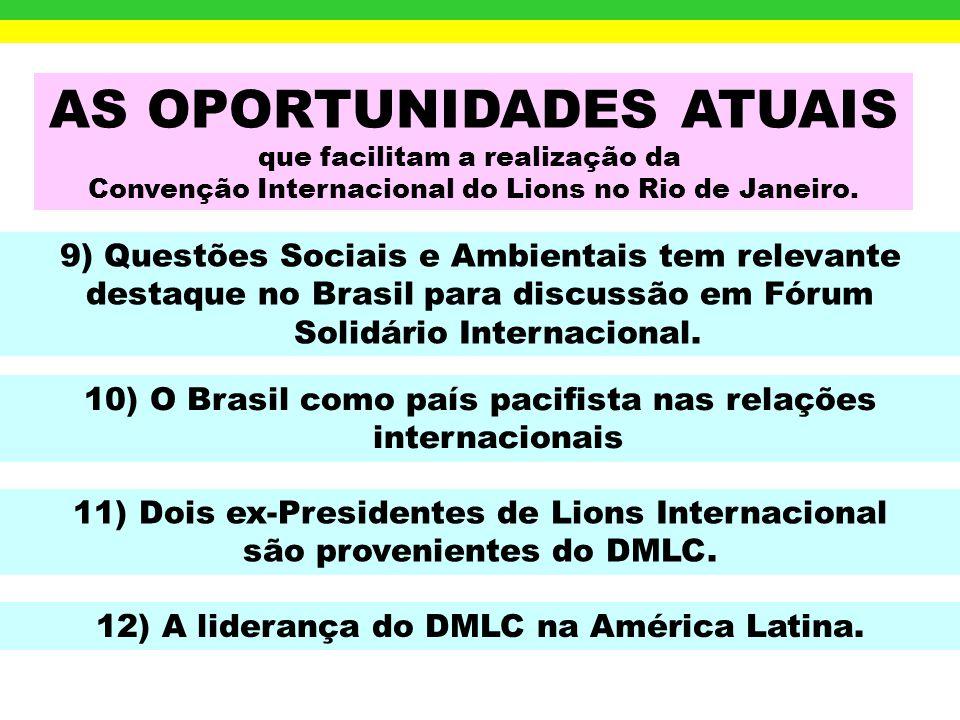 AS OPORTUNIDADES ATUAIS que facilitam a realização da Convenção Internacional do Lions no Rio de Janeiro. 6) América do Sul com 72.593 Sócios. (The Li