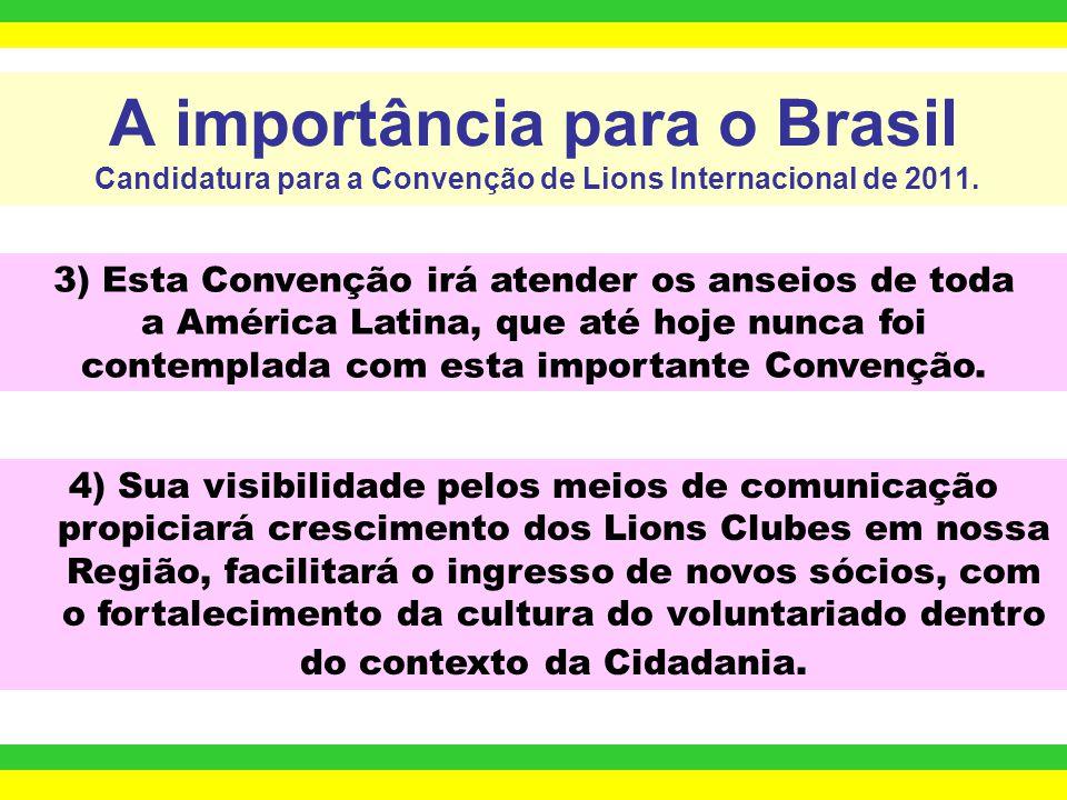 A importância para o Brasil Candidatura para a Convenção de Lions Internacional de 2011. 1) É umas maiores Convenções do mundo sobre Solidariedade Int