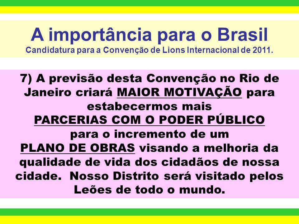 7) A previsão desta Convenção no Rio de Janeiro criará MAIOR MOTIVAÇÃO para estabecermos mais PARCERIAS COM O PODER PÚBLICO para o incremento de um PLANO DE OBRAS visando a melhoria da qualidade de vida dos cidadãos de nossa cidade.