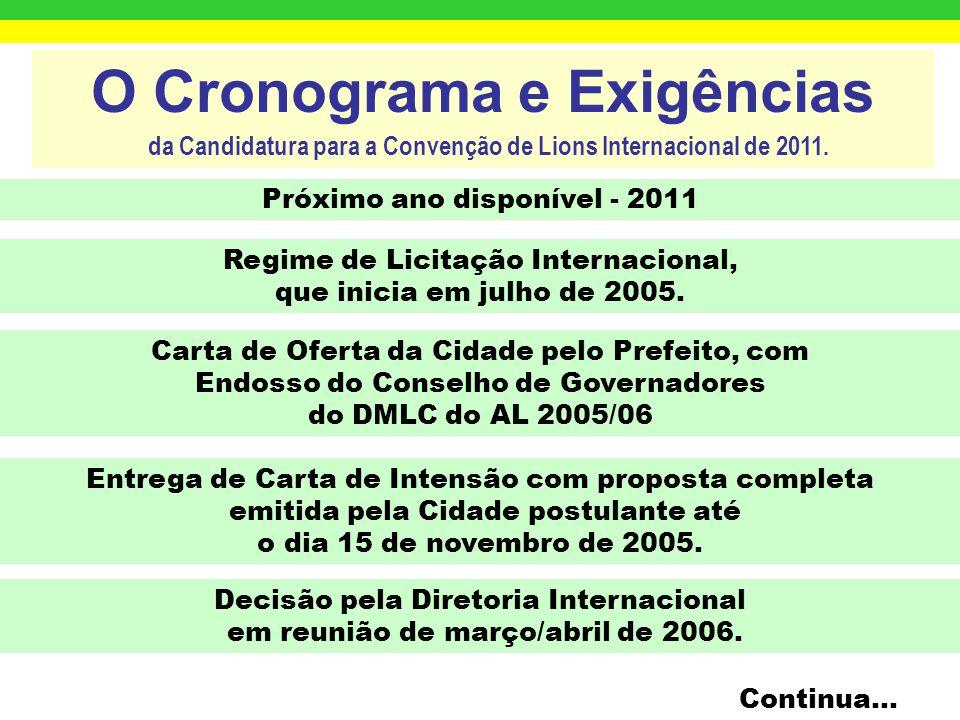 O Cronograma e Exigências da Candidatura para a Convenção de Lions Internacional de 2011.