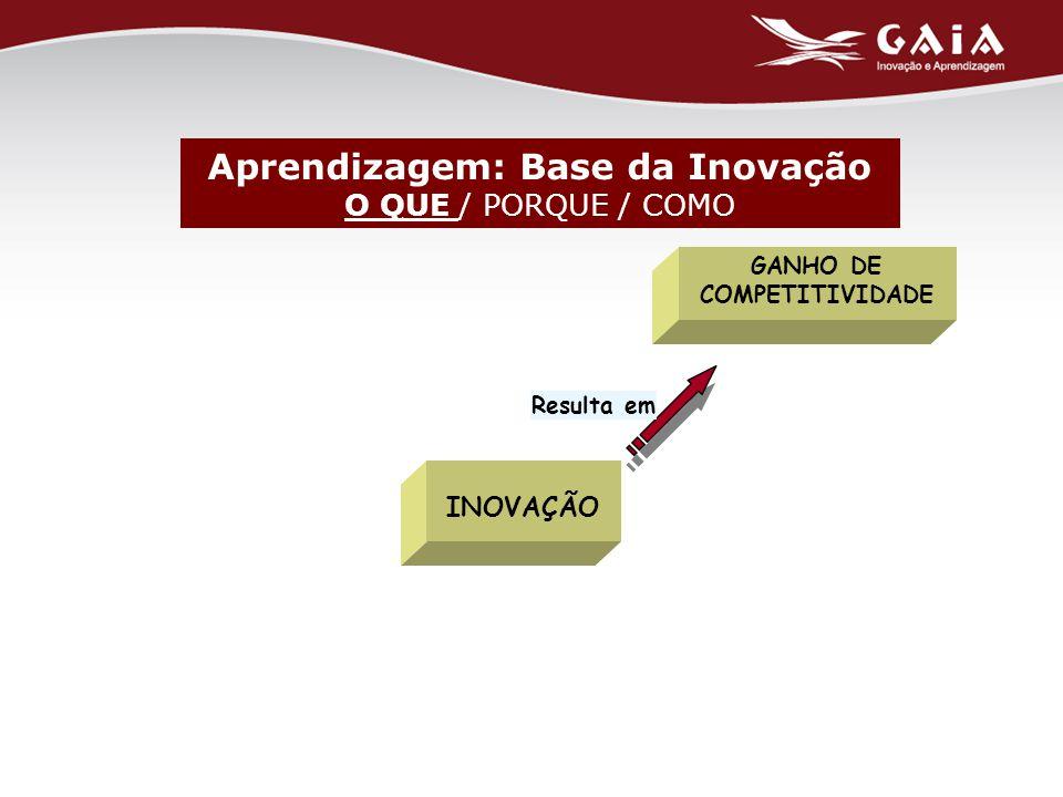 GANHO DE COMPETITIVIDADE Resulta em INOVAÇÃO Aprendizagem: Base da Inovação O QUE / PORQUE / COMO