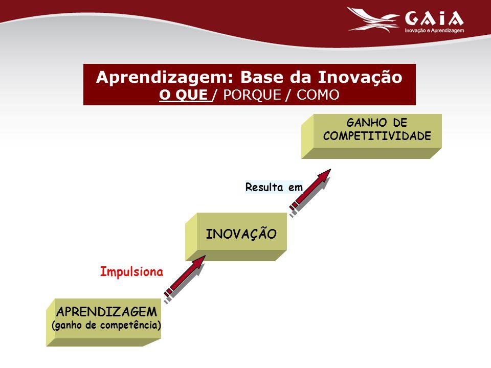 GANHO DE COMPETITIVIDADE Resulta em INOVAÇÃO Impulsiona APRENDIZAGEM (ganho de competência) Aprendizagem: Base da Inovação O QUE / PORQUE / COMO
