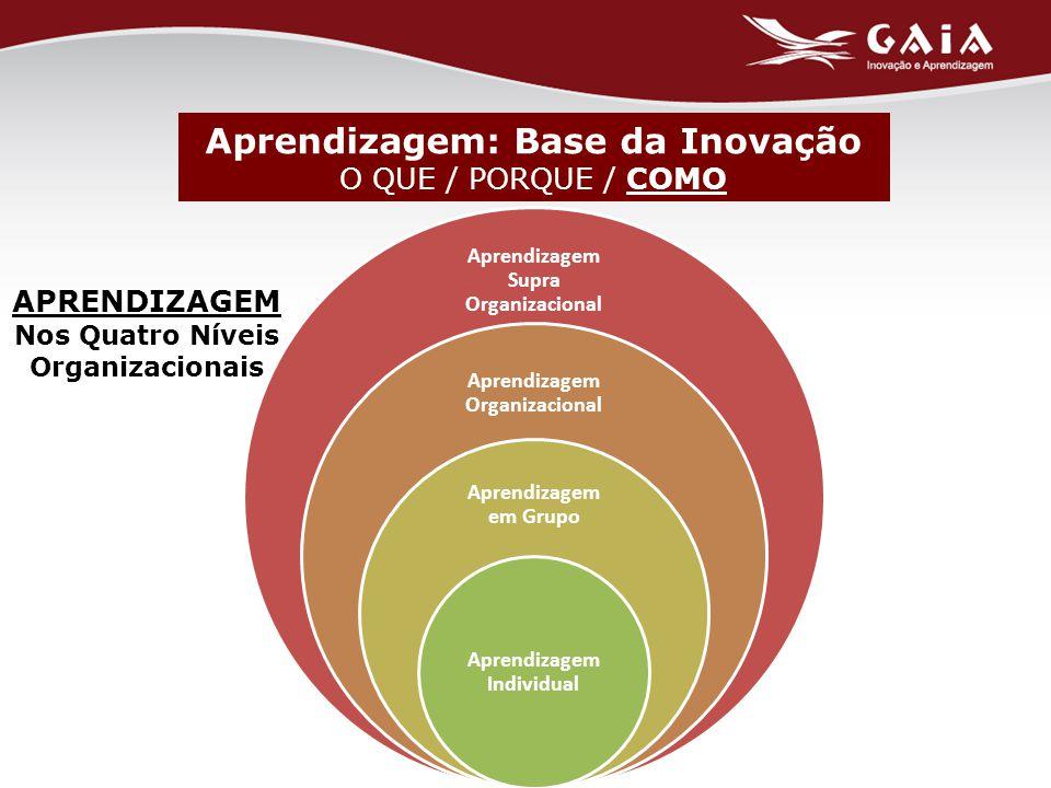 Aprendizagem: Base da Inovação O QUE / PORQUE / COMO APRENDIZAGEM Nos Quatro Níveis Organizacionais