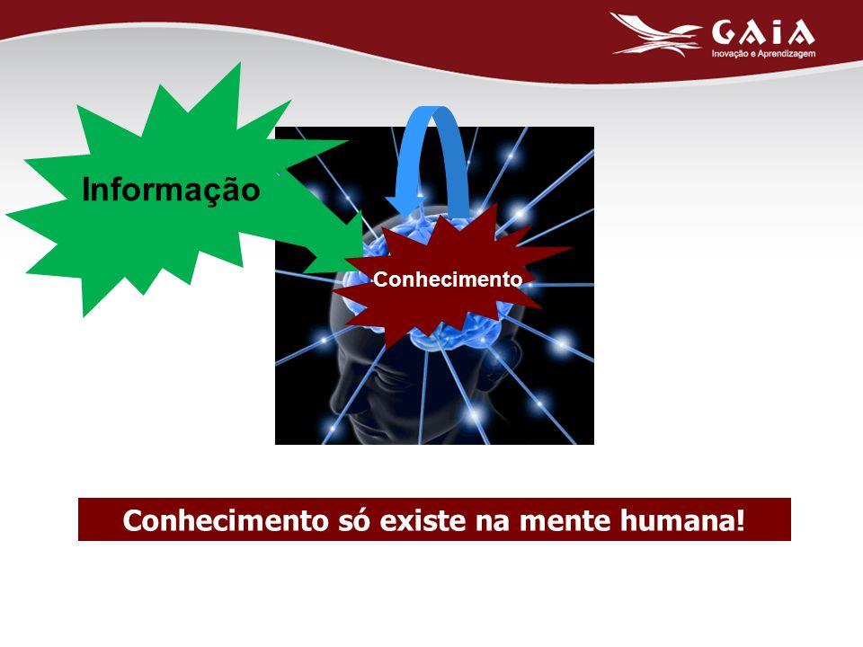 Conhecimento só existe na mente humana! Conhecimento Informação