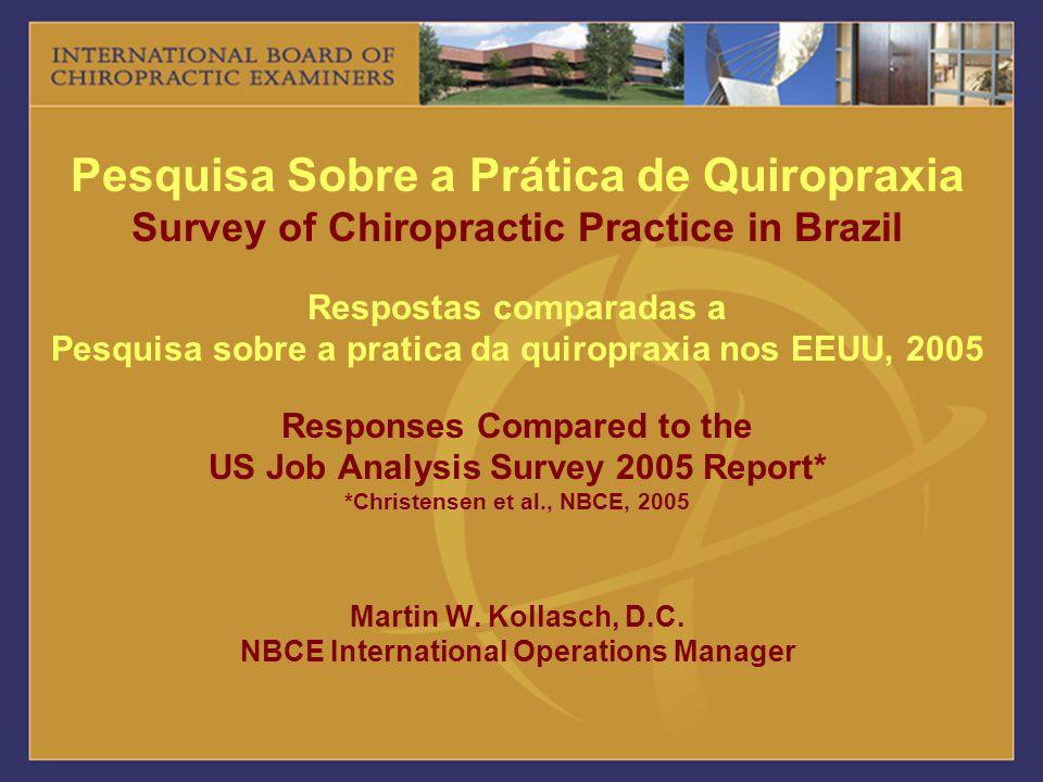 Pesquisa Sobre a Prática de Quiropraxia Survey of Chiropractic Practice in Brazil Respostas comparadas a Pesquisa sobre a pratica da quiropraxia nos E