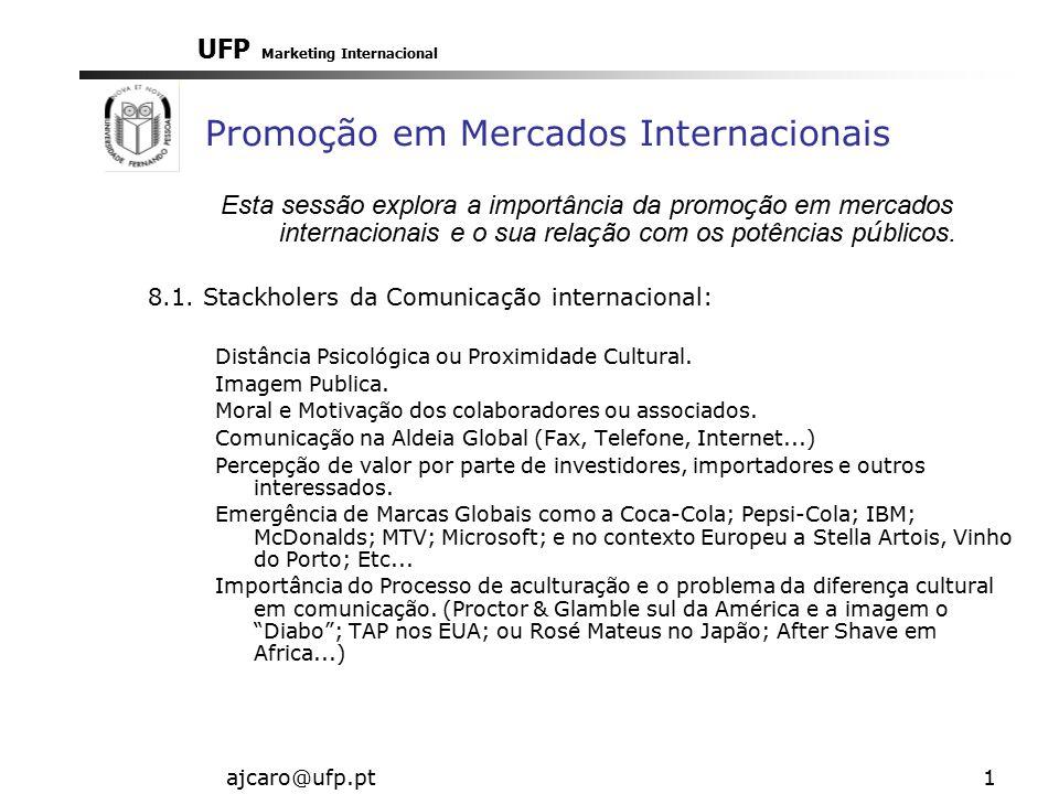 UFP Marketing Internacional ajcaro@ufp.pt1 Promoção em Mercados Internacionais Esta sessão explora a importância da promo ç ão em mercados internacionais e o sua rela ç ão com os potências p ú blicos.