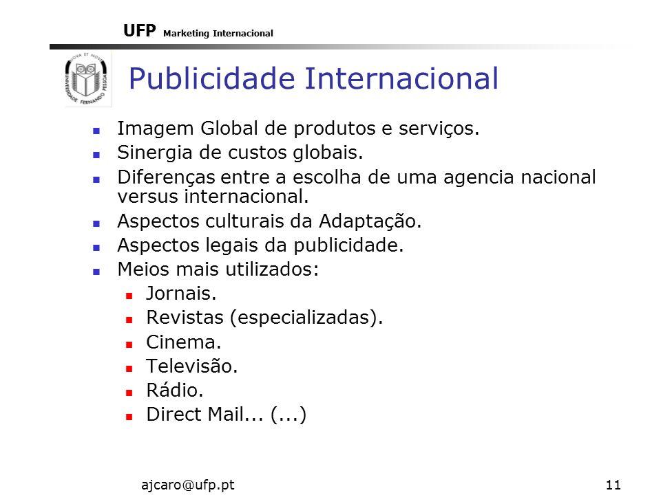 UFP Marketing Internacional ajcaro@ufp.pt11 Publicidade Internacional Imagem Global de produtos e serviços. Sinergia de custos globais. Diferenças ent