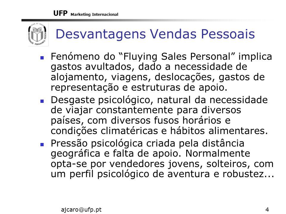 UFP Marketing Internacional ajcaro@ufp.pt4 Desvantagens Vendas Pessoais Fenómeno do Fluying Sales Personal implica gastos avultados, dado a necessidade de alojamento, viagens, deslocações, gastos de representação e estruturas de apoio.