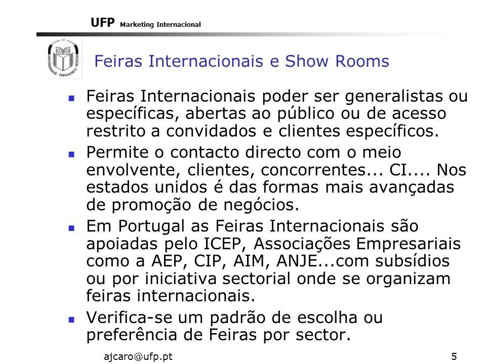 UFP Marketing Internacional ajcaro@ufp.pt5 Feiras Internacionais e Show Rooms Feiras Internacionais poder ser generalistas ou específicas, abertas ao público ou de acesso restrito a convidados e clientes específicos.