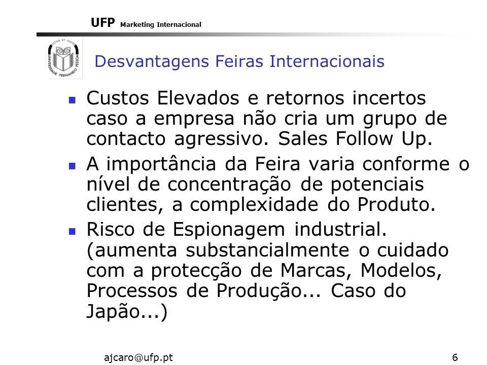 UFP Marketing Internacional ajcaro@ufp.pt6 Desvantagens Feiras Internacionais Custos Elevados e retornos incertos caso a empresa não cria um grupo de contacto agressivo.