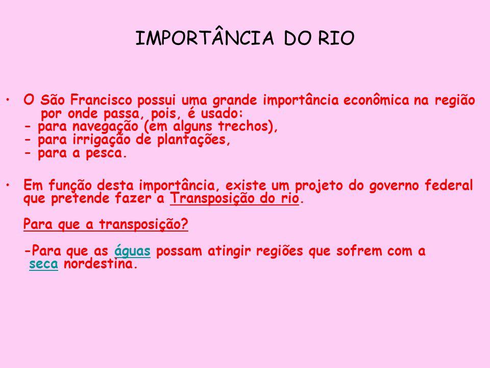 IMPORTÂNCIA DO RIO O São Francisco possui uma grande importância econômica na região por onde passa, pois, é usado: - para navegação (em alguns trecho