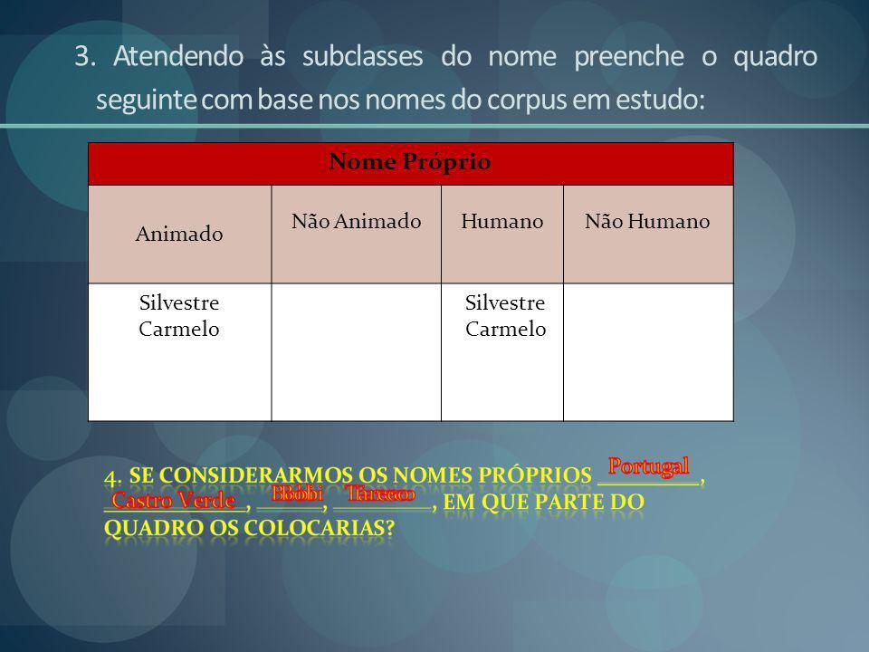 3. Atendendo às subclasses do nome preenche o quadro seguinte com base nos nomes do corpus em estudo: Nome Próprio Animado Não AnimadoHumanoNão Humano