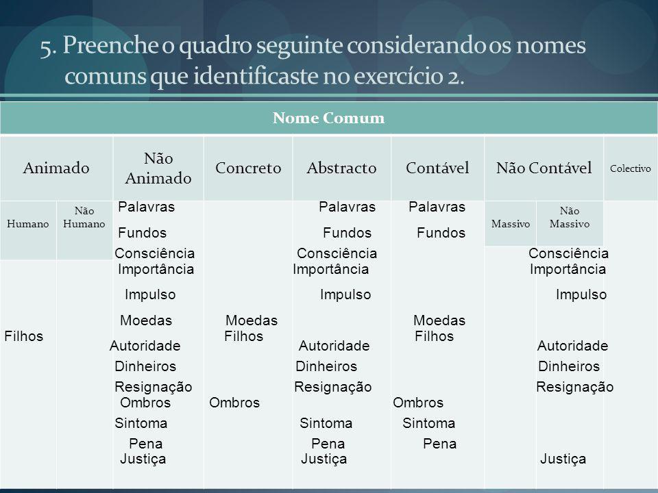 5.Preenche o quadro seguinte considerando os nomes comuns que identificaste no exercício 2.