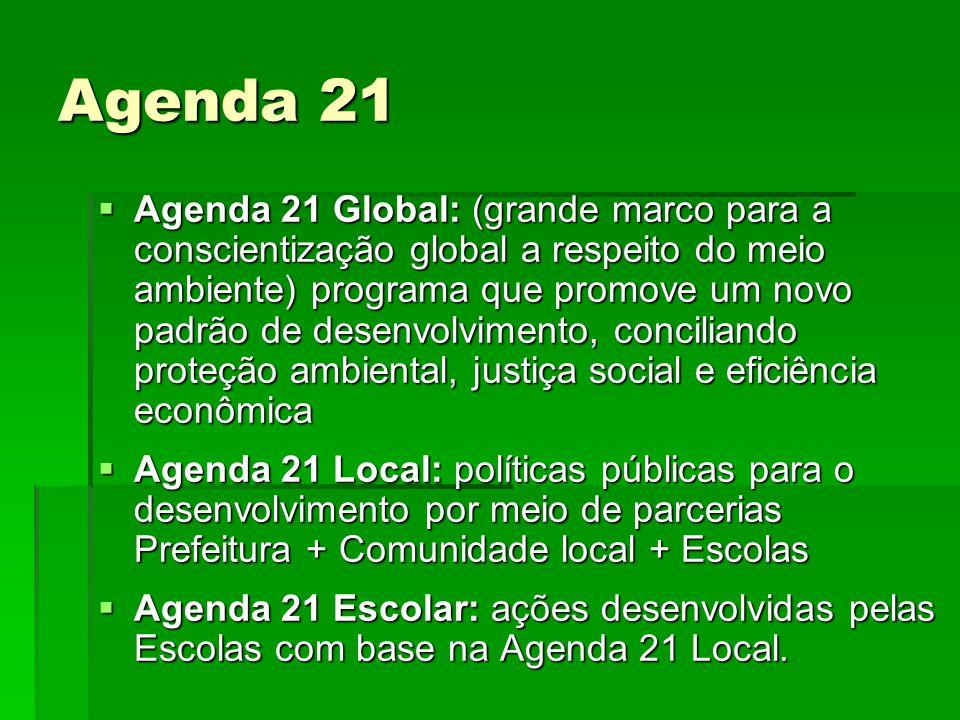 Agenda 21  Agenda 21 Global: (grande marco para a conscientização global a respeito do meio ambiente) programa que promove um novo padrão de desenvol