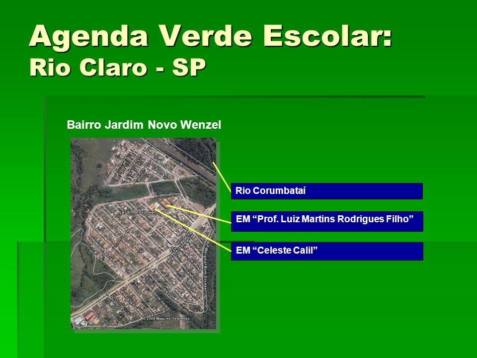 """Agenda Verde Escolar: Rio Claro - SP EM """"Celeste Calil"""" EM """"Prof. Luiz Martins Rodrigues Filho"""" Rio Corumbataí Bairro Jardim Novo Wenzel"""