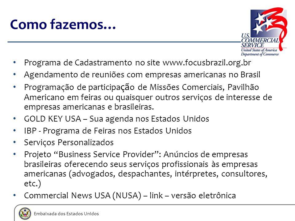 Embaixada dos Estados Unidos Como fazemos… Programa de Cadastramento no site www.focusbrazil.org.br Agendamento de reuniões com empresas americanas no