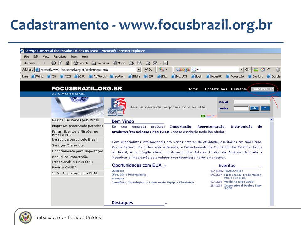 Embaixada dos Estados Unidos Cadastramento - www.focusbrazil.org.br