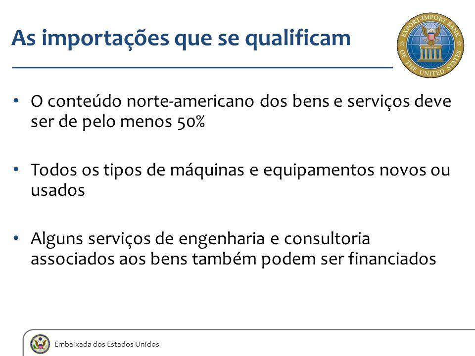 Embaixada dos Estados Unidos As importações que se qualificam O conteúdo norte-americano dos bens e serviços deve ser de pelo menos 50% Todos os tipos