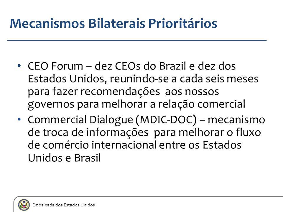 Embaixada dos Estados Unidos Mecanismos Bilaterais Prioritários CEO Forum – dez CEOs do Brazil e dez dos Estados Unidos, reunindo-se a cada seis meses