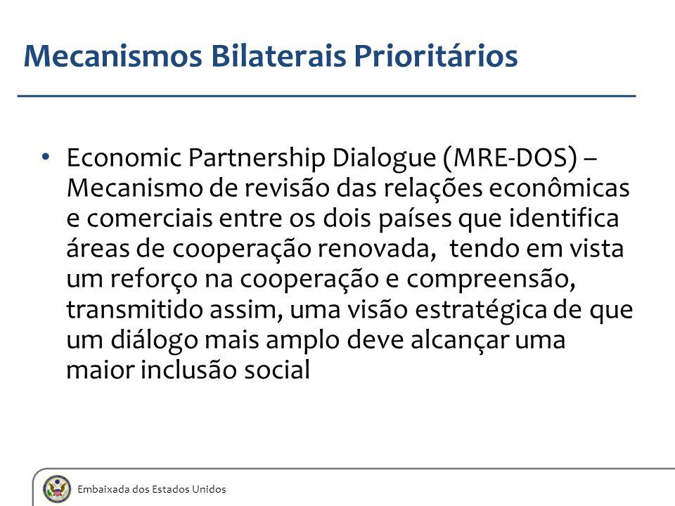 Embaixada dos Estados Unidos Mecanismos Bilaterais Prioritários Economic Partnership Dialogue (MRE-DOS) – Mecanismo de revisão das relações econômicas