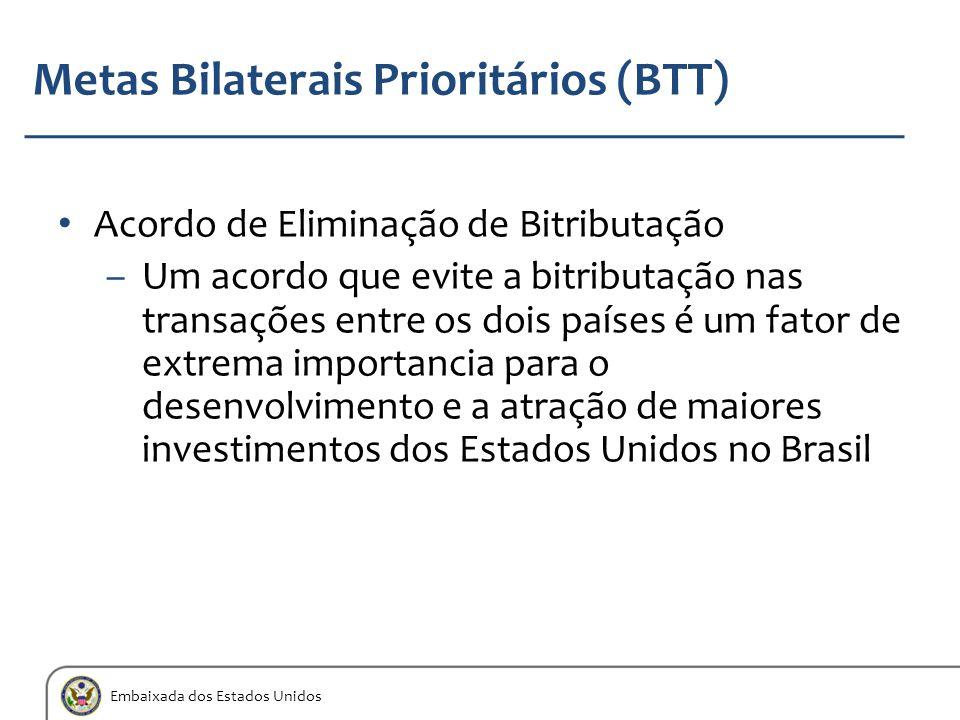 Embaixada dos Estados Unidos Metas Bilaterais Prioritários (BTT) Acordo de Eliminação de Bitributação –Um acordo que evite a bitributação nas transaçõ