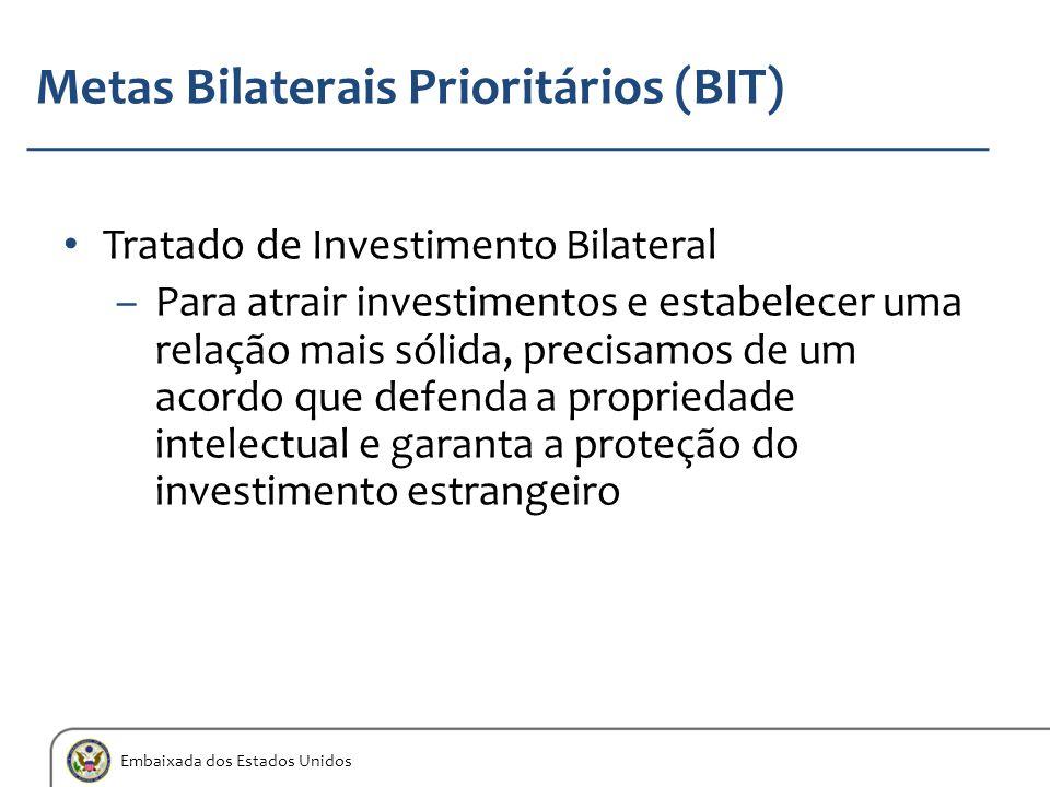 Embaixada dos Estados Unidos Metas Bilaterais Prioritários (BIT) Tratado de Investimento Bilateral –Para atrair investimentos e estabelecer uma relaçã