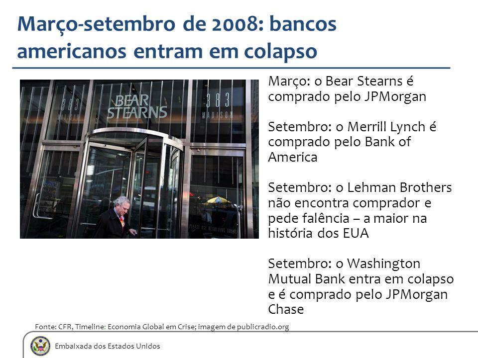 Embaixada dos Estados Unidos Março: o Bear Stearns é comprado pelo JPMorgan Setembro: o Merrill Lynch é comprado pelo Bank of America Setembro: o Lehm