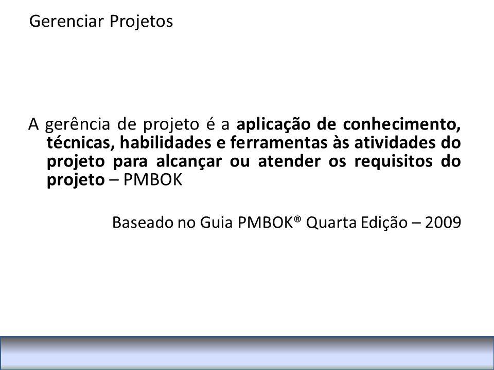 A gerência de projeto é a aplicação de conhecimento, técnicas, habilidades e ferramentas às atividades do projeto para alcançar ou atender os requisitos do projeto – PMBOK Baseado no Guia PMBOK® Quarta Edição – 2009 Gerenciar Projetos