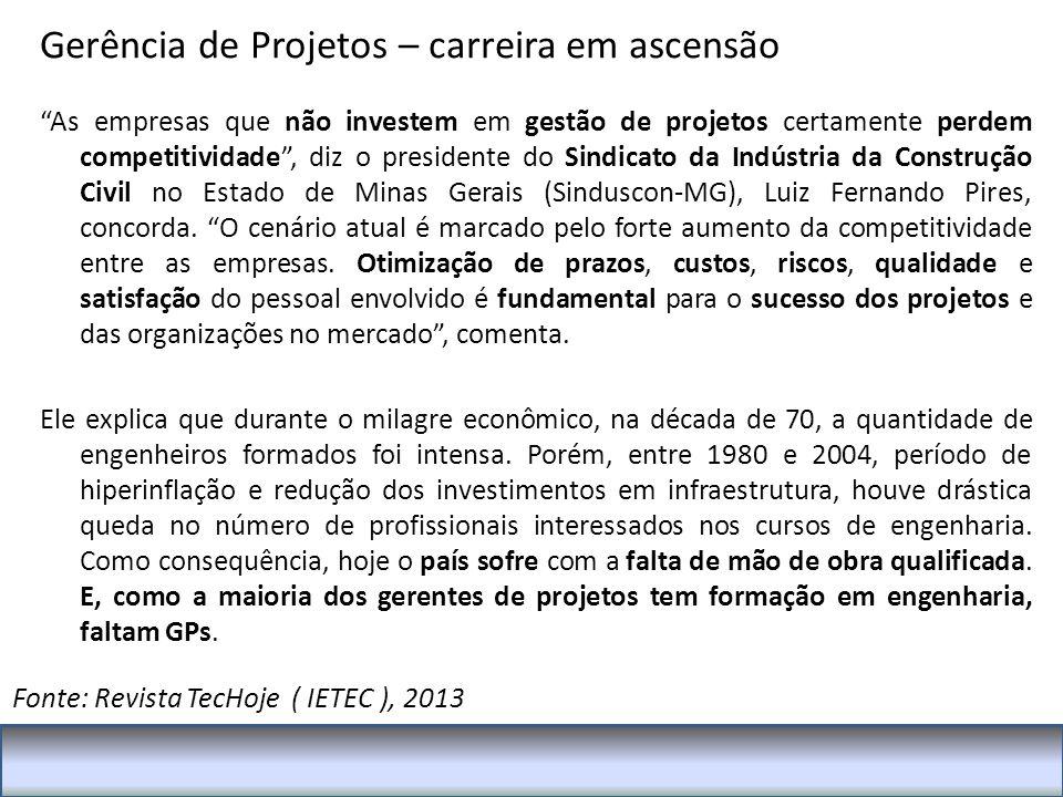 As empresas que não investem em gestão de projetos certamente perdem competitividade , diz o presidente do Sindicato da Indústria da Construção Civil no Estado de Minas Gerais (Sinduscon-MG), Luiz Fernando Pires, concorda.