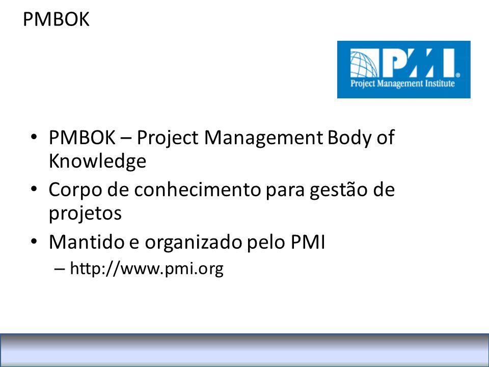 PMBOK PMBOK – Project Management Body of Knowledge Corpo de conhecimento para gestão de projetos Mantido e organizado pelo PMI – http://www.pmi.org