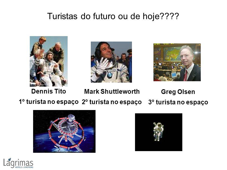 Turistas do futuro ou de hoje???? Greg Olsen 3º turista no espaço Dennis Tito 1º turista no espaço Mark Shuttleworth 2º turista no espaço