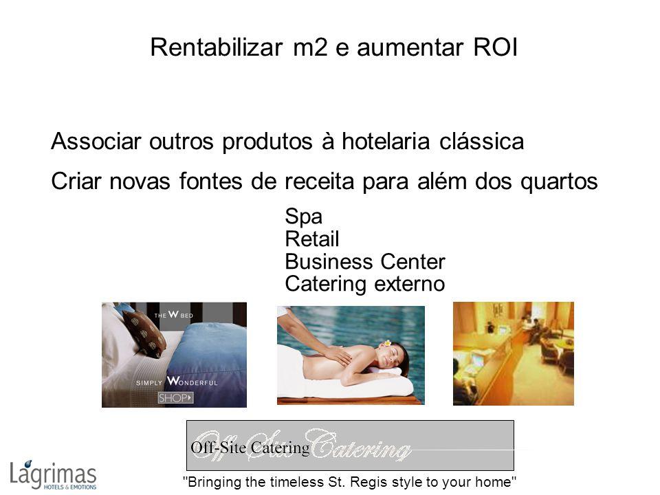 Rentabilizar m2 e aumentar ROI Associar outros produtos à hotelaria clássica Criar novas fontes de receita para além dos quartos Spa Retail Business Center Catering externo Bringing the timeless St.