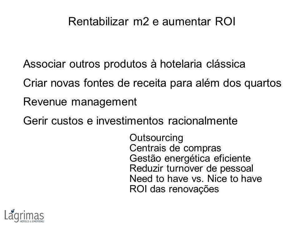 Rentabilizar m2 e aumentar ROI Associar outros produtos à hotelaria clássica Criar novas fontes de receita para além dos quartos Revenue management Ge