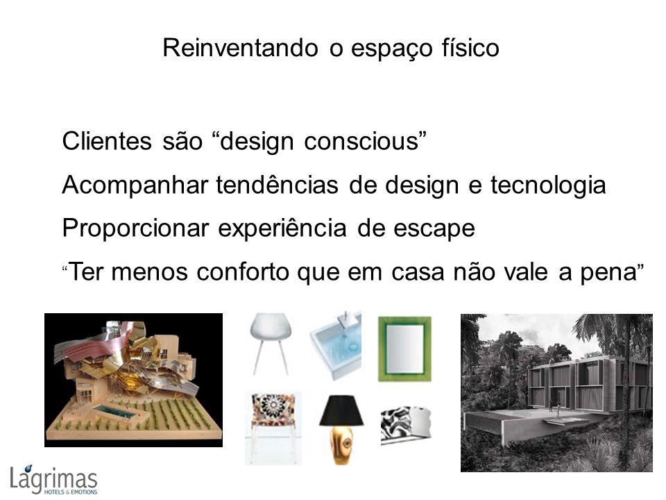 """Clientes são """"design conscious"""" Acompanhar tendências de design e tecnologia Proporcionar experiência de escape """" Ter menos conforto que em casa não v"""