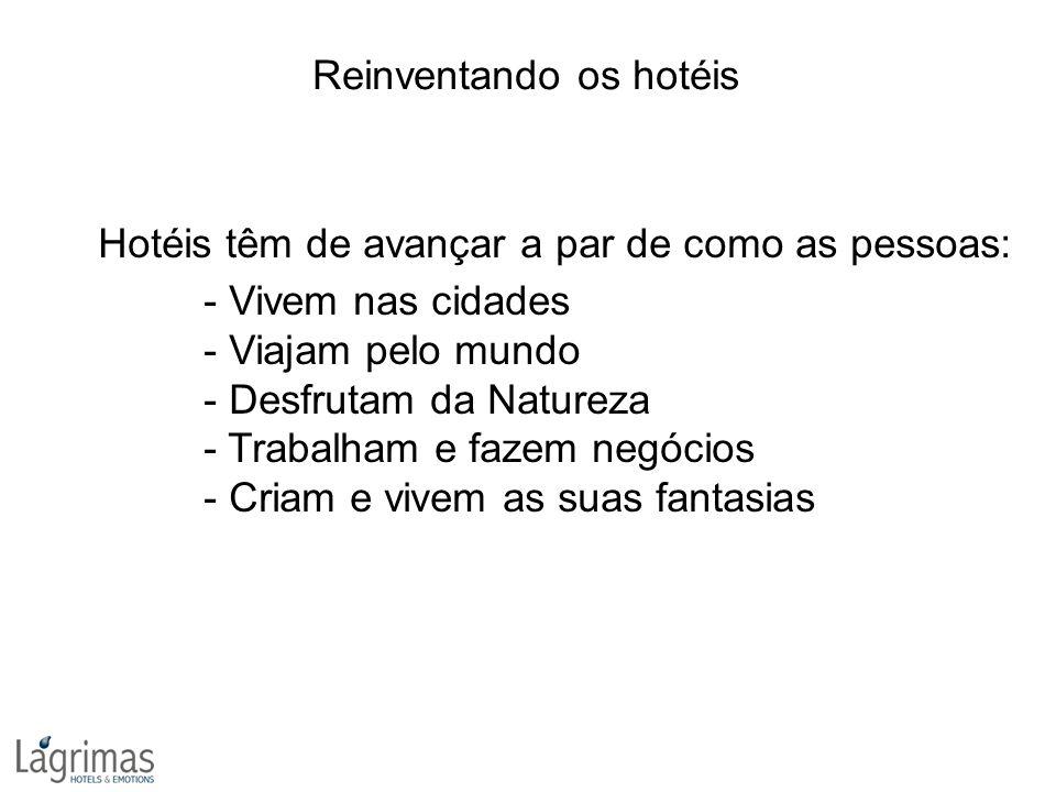 Hotéis têm de avançar a par de como as pessoas: - Vivem nas cidades - Viajam pelo mundo - Desfrutam da Natureza - Trabalham e fazem negócios - Criam e vivem as suas fantasias Reinventando os hotéis