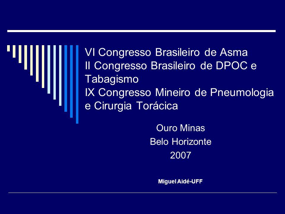 VI Congresso Brasileiro de Asma II Congresso Brasileiro de DPOC e Tabagismo IX Congresso Mineiro de Pneumologia e Cirurgia Torácica Ouro Minas Belo Ho