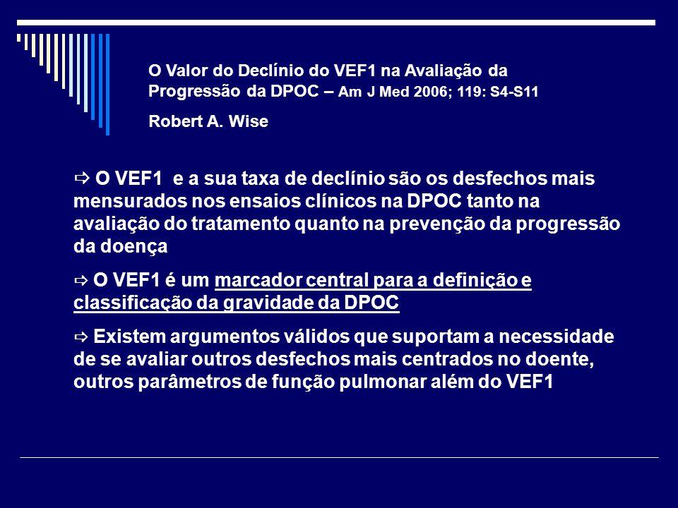 O Valor do Declínio do VEF1 na Avaliação da Progressão da DPOC – Am J Med 2006; 119: S4-S11 Robert A. Wise  O VEF1 e a sua taxa de declínio são os de