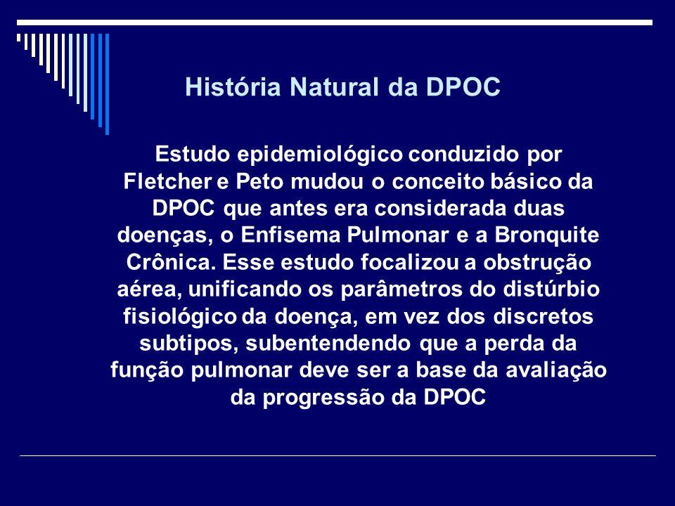 Estudo epidemiológico conduzido por Fletcher e Peto mudou o conceito básico da DPOC que antes era considerada duas doenças, o Enfisema Pulmonar e a Br
